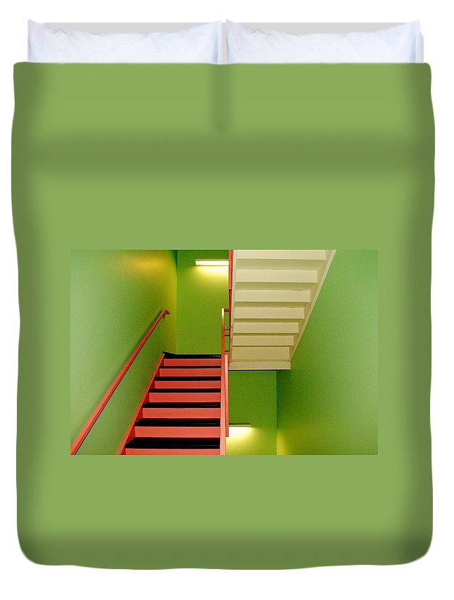 Stairwell Duvet Cover featuring the photograph To And Fro by Frozen in Time Fine Art Photography