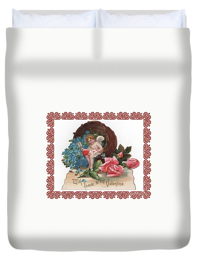 Antique Valentine Duvet Cover featuring the photograph To My Valentine by Nancy Patterson