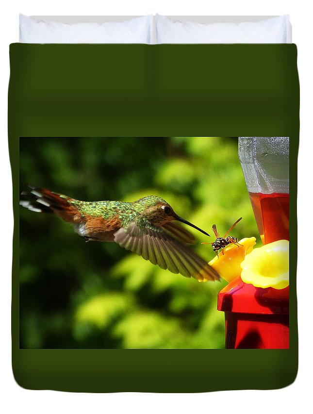 Hummingbird Duvet Cover featuring the photograph To Share Or Not To Share by Monique Morin Matson