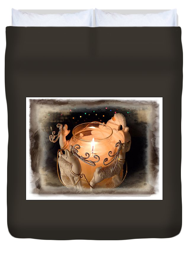 Holiday Duvet Cover featuring the photograph To The Top Of The Porch To The Top Of The Wall Now Dash Away Dash Away Dash Away All by Lucinda Walter