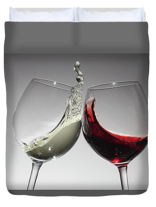 Alcohol Duvet Cover featuring the photograph Toasting With Glasses Of Water And Red by Dual Dual