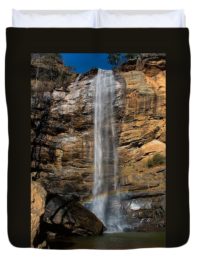 Waterfall Duvet Cover featuring the photograph Toccoa Falls With Rainbow by Lynne Jenkins