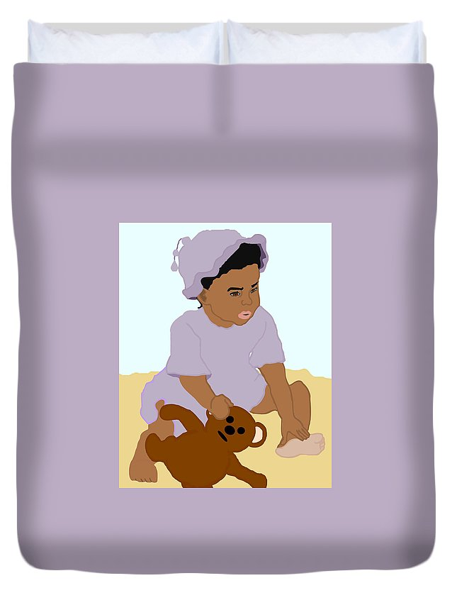 Toddler Duvet Cover featuring the painting Toddler And Teddy by Pharris Art