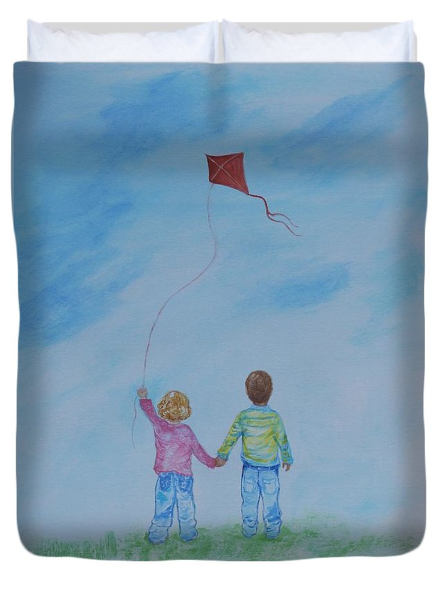 Children Painting Duvet Cover featuring the painting Together Flying by Leslie Allen
