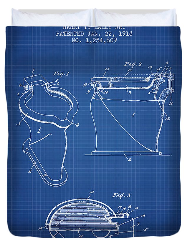 Toilet Bowl Patent From 1918 Blueprint Duvet Cover For Sale By