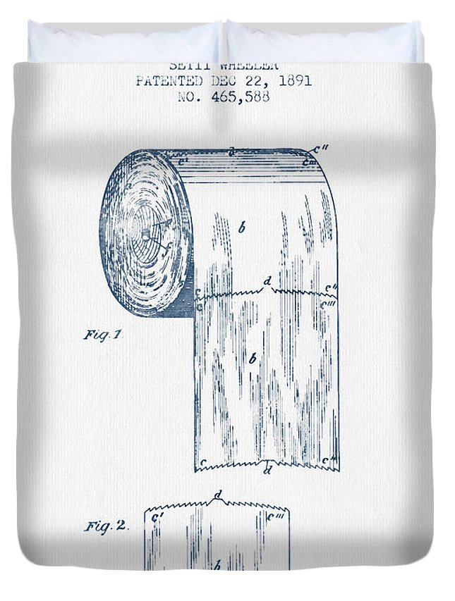 Toilet Paper Roll Patent Drawing From 1891 Blue Ink Duvet Cover
