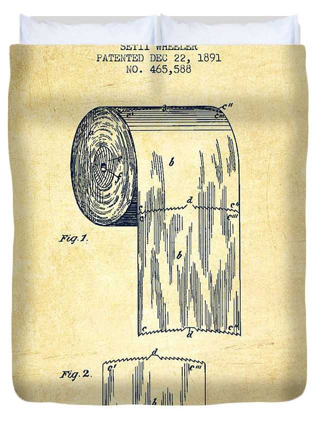 Toilet Paper Roll Patent Drawing From 1891 Vintage Duvet Cover For