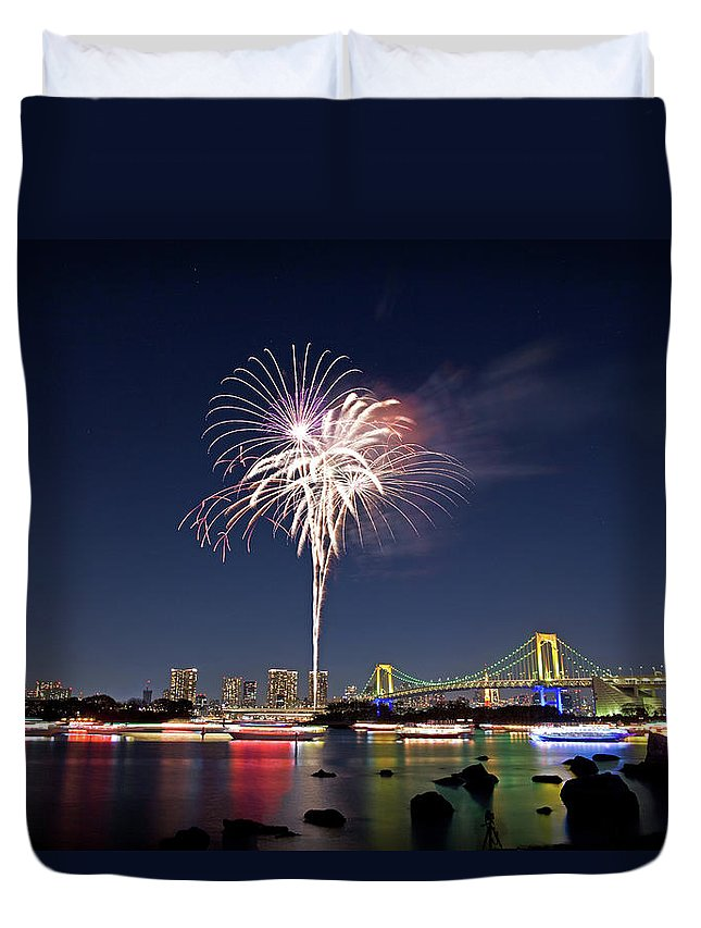 Firework Display Duvet Cover featuring the photograph Tokyo Bay Fireworks by Photography By Zhangxun