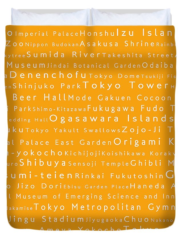 City Duvet Cover featuring the digital art Tokyo In Words Orange by Sabine Jacobs