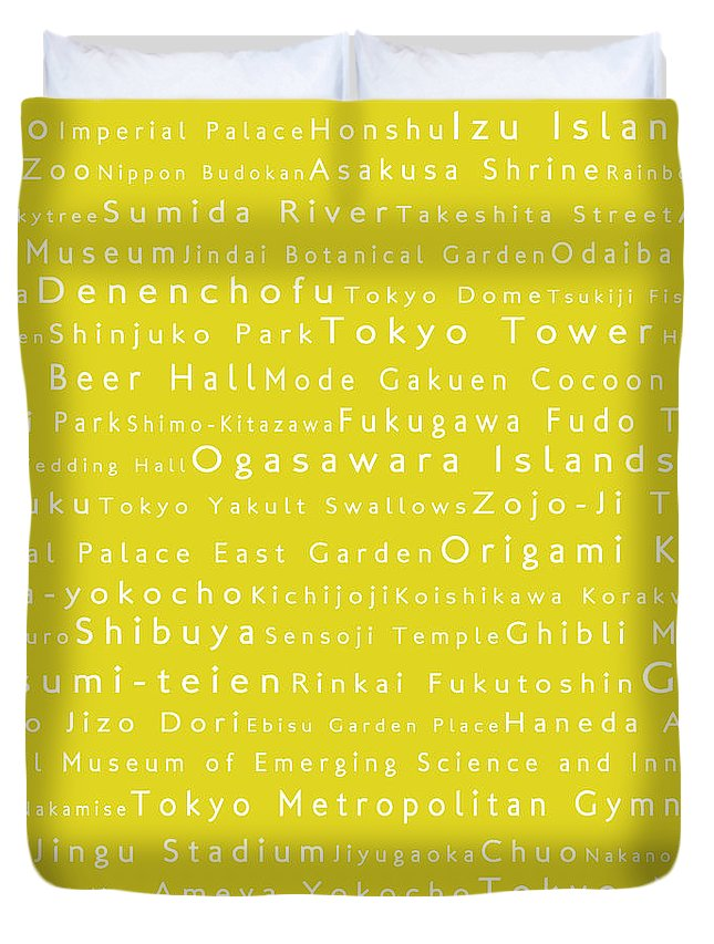 City Duvet Cover featuring the digital art Tokyo In Words Yellow by Sabine Jacobs