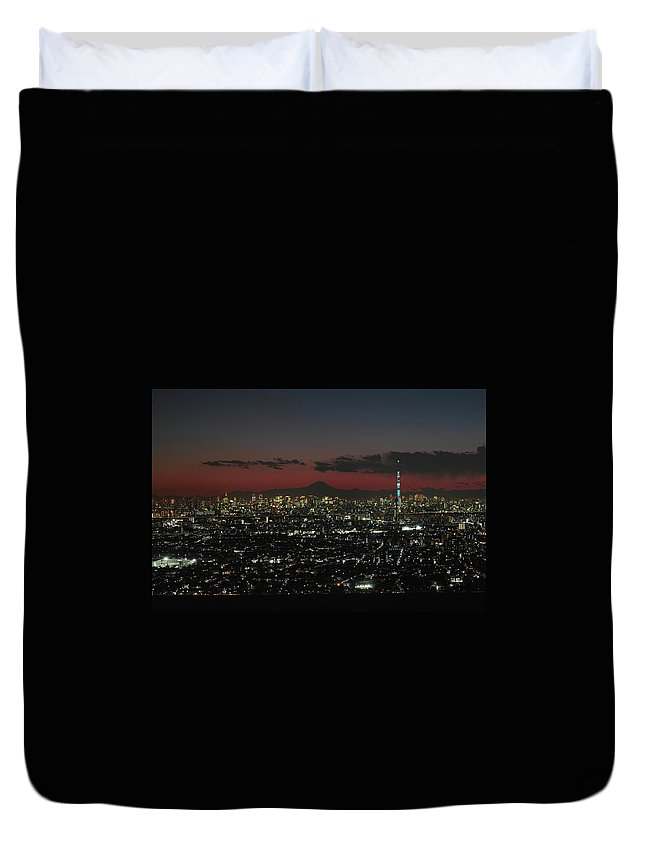 Tokyo Tower Duvet Cover featuring the photograph Tokyo Skytree, Fuji, And Tokyo Tower by I Love Photo And Apple.