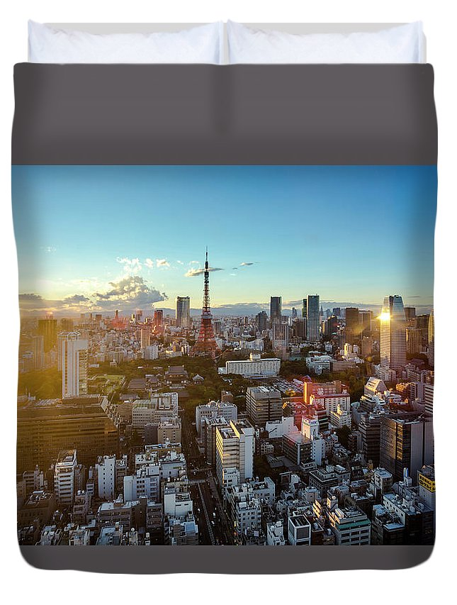 Tokyo Tower Duvet Cover featuring the photograph Tokyo Tower After Raining by Panithan Fakseemuang