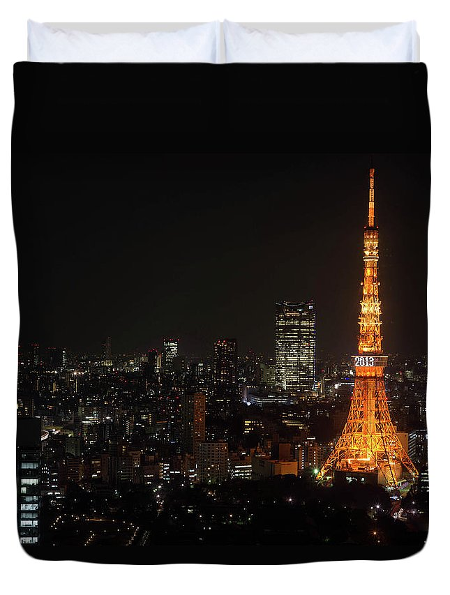 Tokyo Tower Duvet Cover featuring the photograph Tokyo Tower by Kkshm