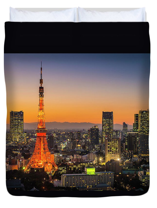 Tokyo Tower Duvet Cover featuring the photograph Tokyo Tower Skyscrapers Neon Futuristic by Fotovoyager