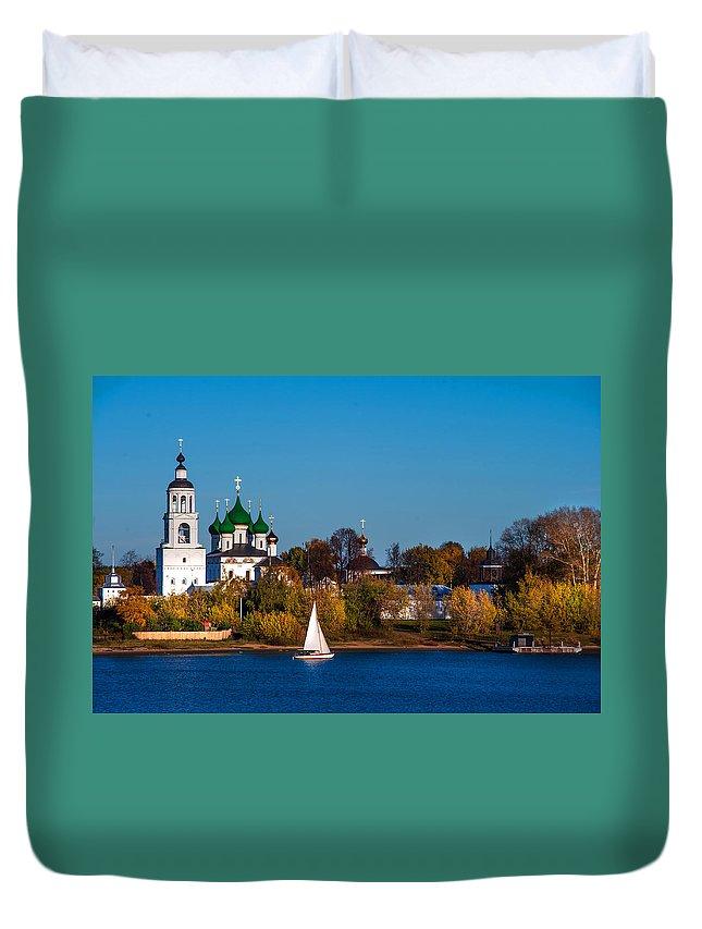 Religion Duvet Cover featuring the photograph Tolga Monastery At River Volga by Jenny Rainbow