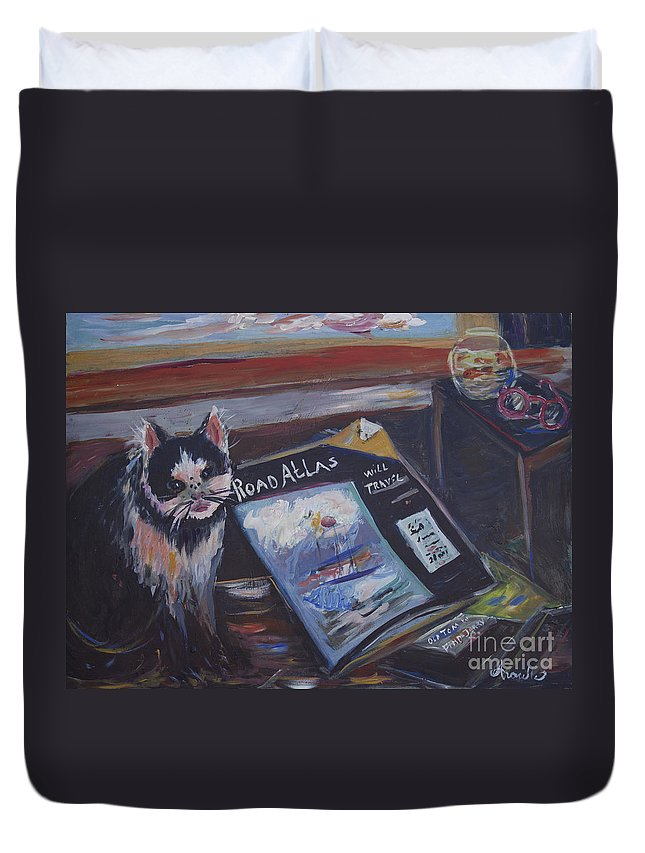 Family Pets Cat Duvet Cover featuring the painting Tom Will Travel by Avonelle Kelsey