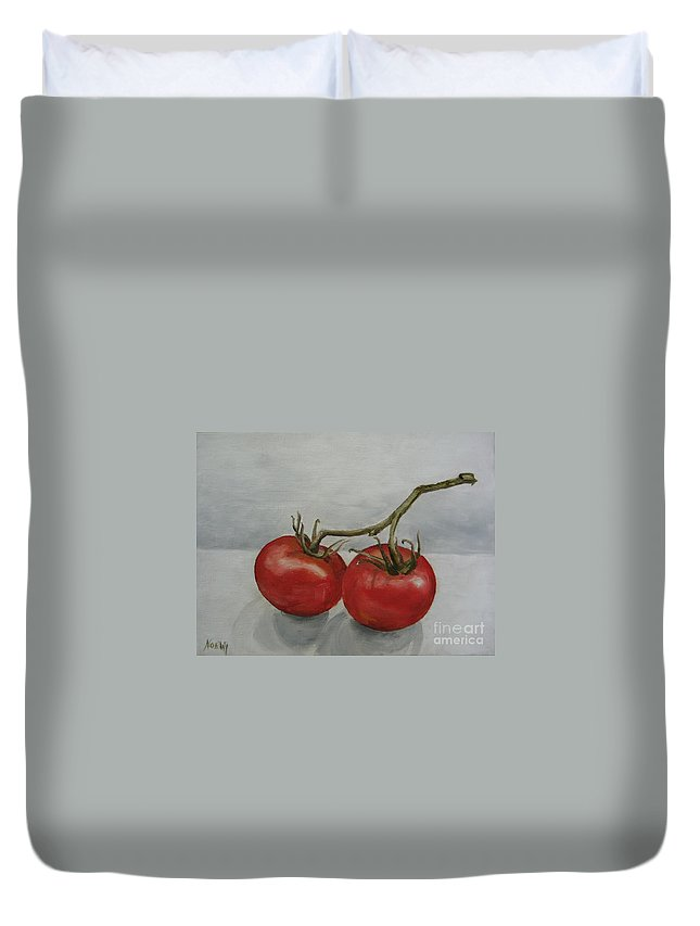Oil Duvet Cover featuring the painting Tomatoes On Vine by Jindra Noewi
