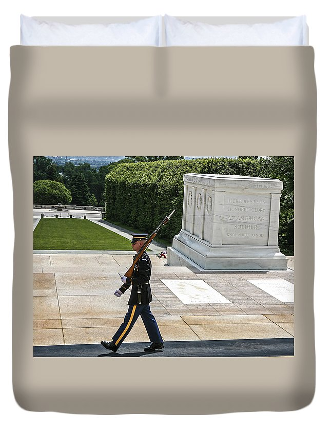 Tomb Guard Duvet Cover featuring the photograph Tomb Guard by Eric Swan