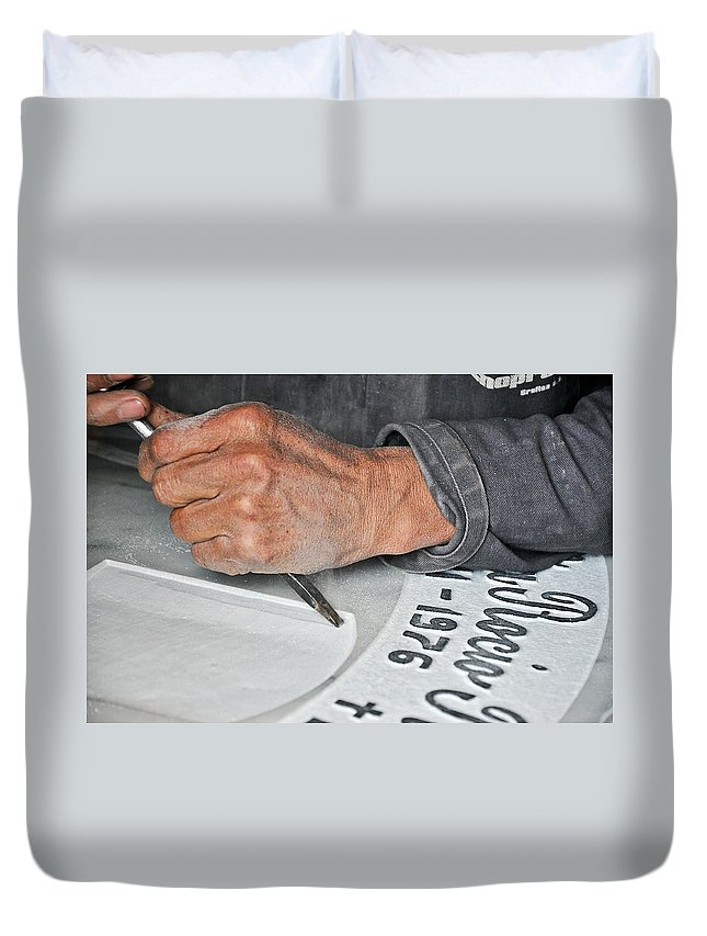 Death Duvet Cover featuring the photograph Tombstone Engraver At Work by Jess Kraft