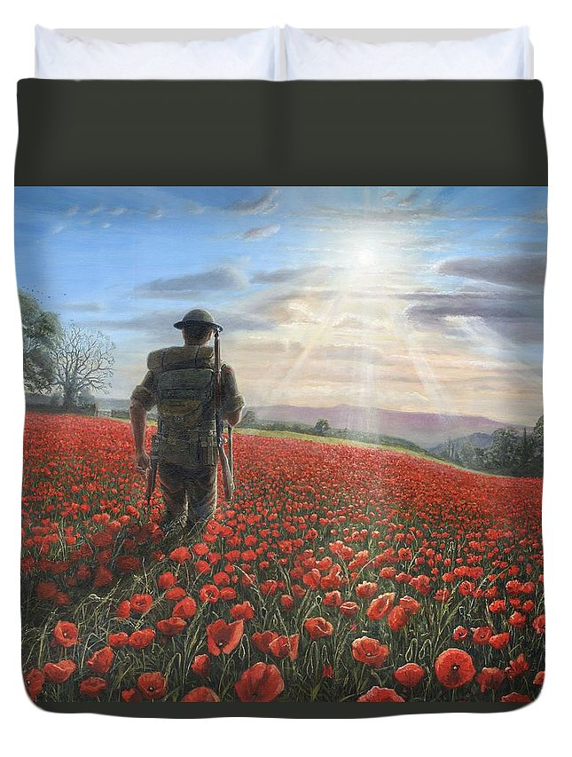 Landscape Duvet Cover featuring the painting Tommy by Richard Harpum