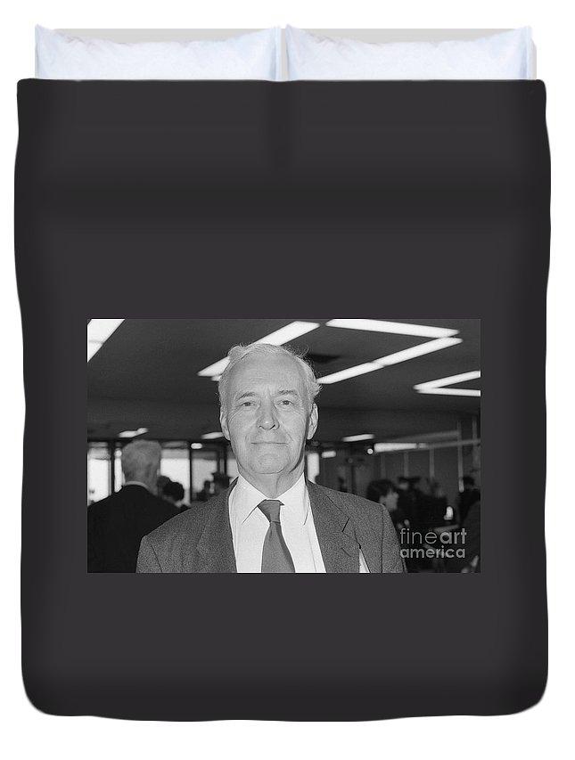 Tony Duvet Cover featuring the photograph Tony Benn by David Fowler