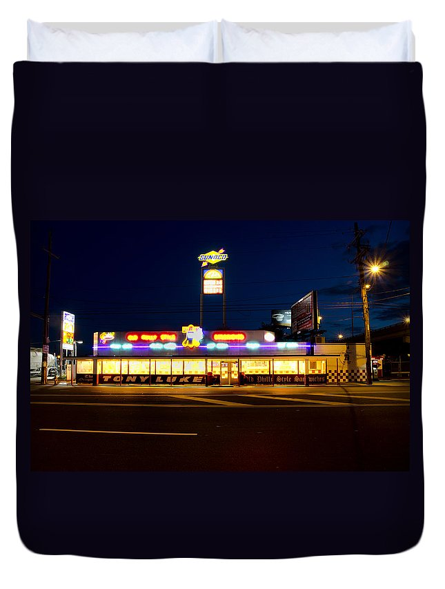Tony Duvet Cover featuring the photograph Tony Lukes - Cheese Steaks by Bill Cannon