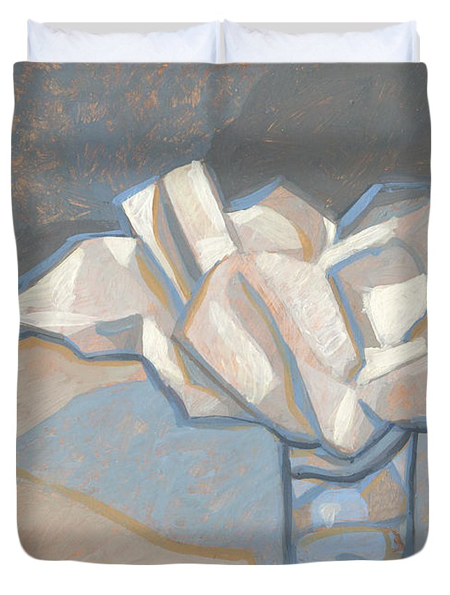 Paper Duvet Cover featuring the painting Too Big So Stuff It by Richard Glen Smith