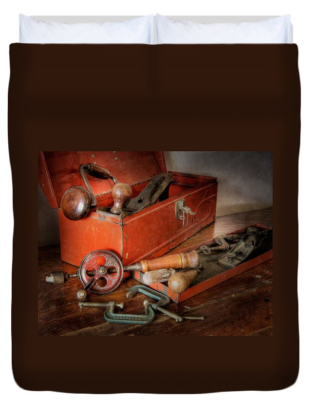 Clamp Duvet Cover featuring the photograph Toolbox 1 by David and Carol Kelly