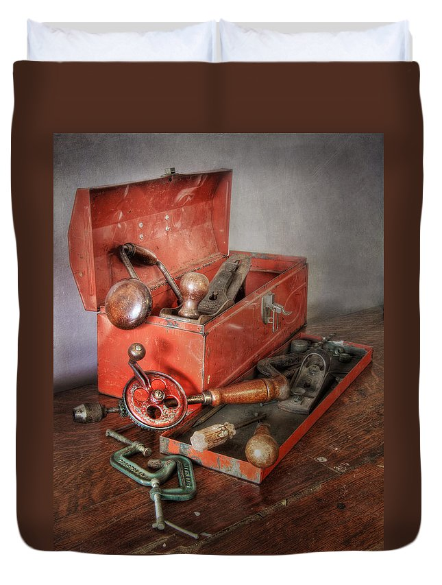 Clamp Duvet Cover featuring the photograph Toolbox 2 by David and Carol Kelly