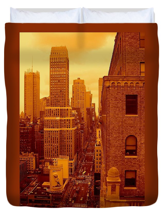 Manhattan Posters And Prints Duvet Cover featuring the photograph Top Of Manhattan by Monique's Fine Art