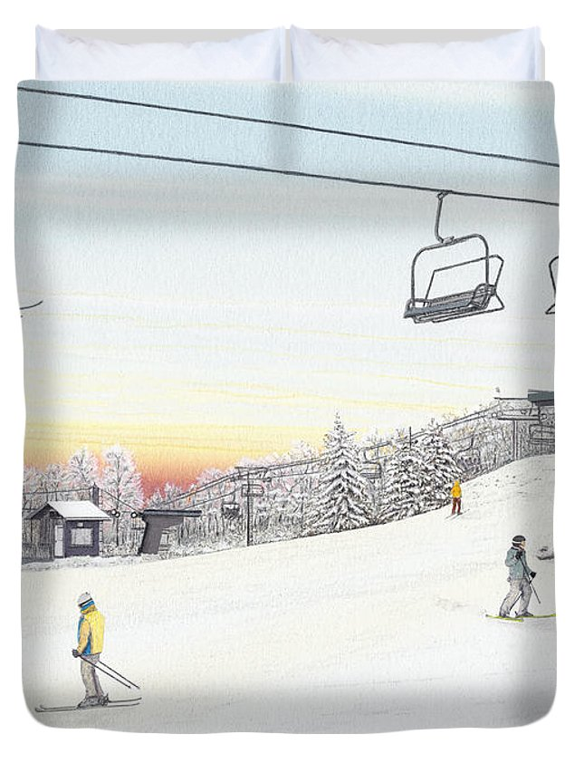 Seven Springs Mountain Resort Duvet Cover featuring the painting Top Of The Mountain At Seven Springs by Albert Puskaric