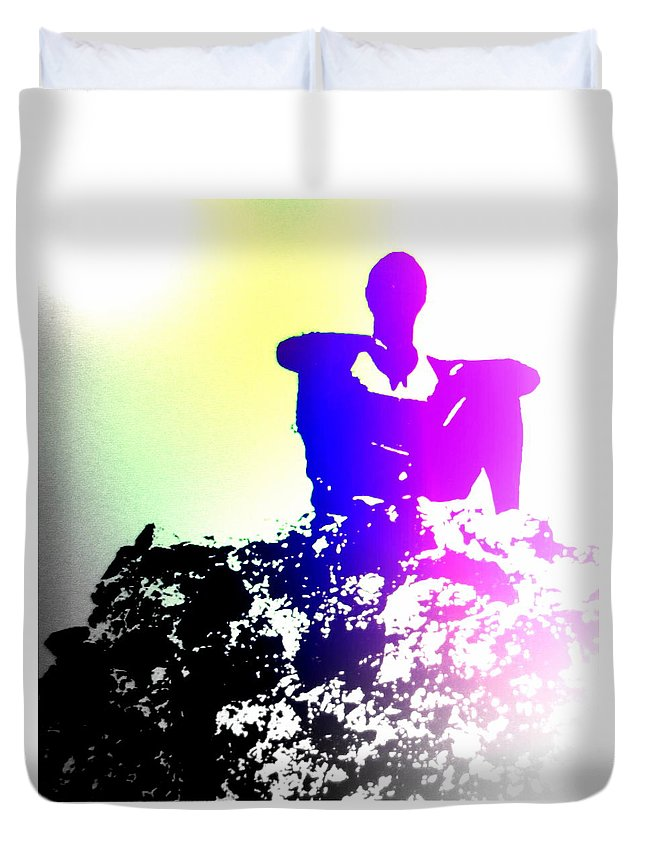 Folklore Duvet Cover featuring the photograph Sitting At The Top Of The Mountain Watching You Climb by Hilde Widerberg
