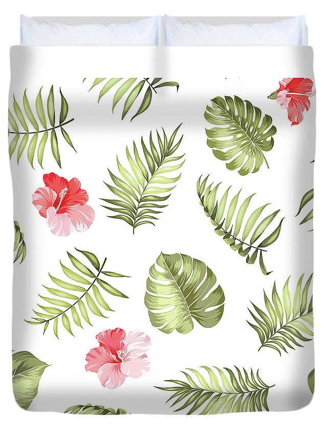 Tropical Rainforest Duvet Cover featuring the digital art Topical Palm Leaves Pattern by Kotkoa