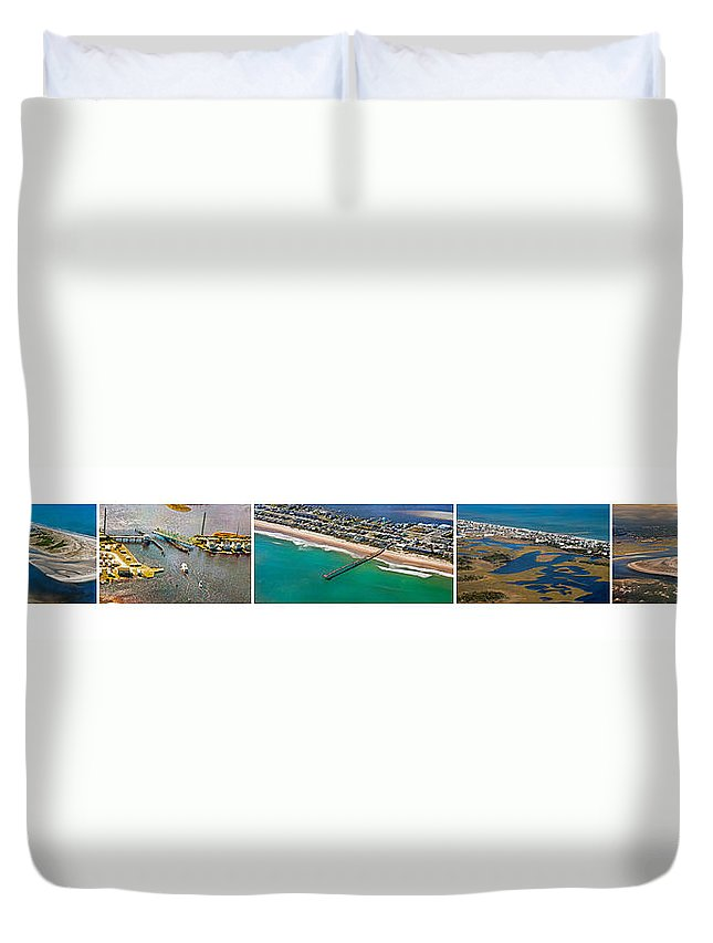 Topsial Duvet Cover featuring the photograph Topsail Island Aerial Panels by Betsy Knapp
