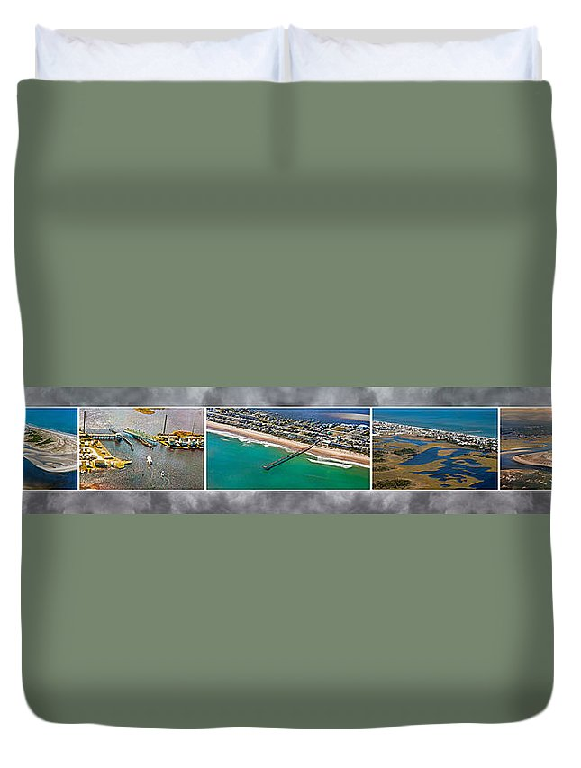 Topsial Duvet Cover featuring the photograph Topsail Island Aerial Panels II by Betsy Knapp
