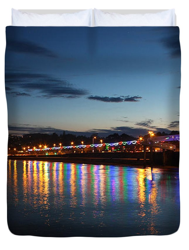 Torbay Duvet Cover featuring the photograph Torbay Nights by Terri Waters