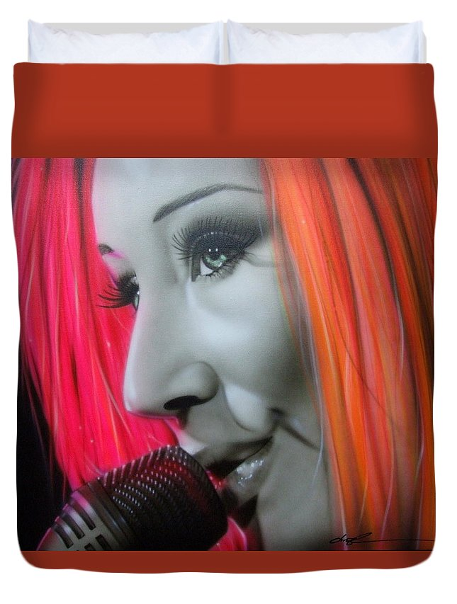 Tori Amos Duvet Cover featuring the painting Tori Amos by Christian Chapman Art