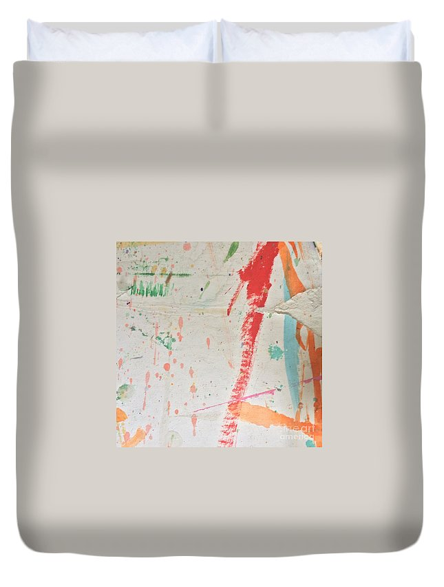 Red Duvet Cover featuring the painting Torn To Red Line by Robin Maria Pedrero
