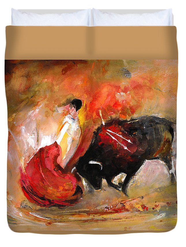 Animals Duvet Cover featuring the painting Toro 777 by Miki De Goodaboom