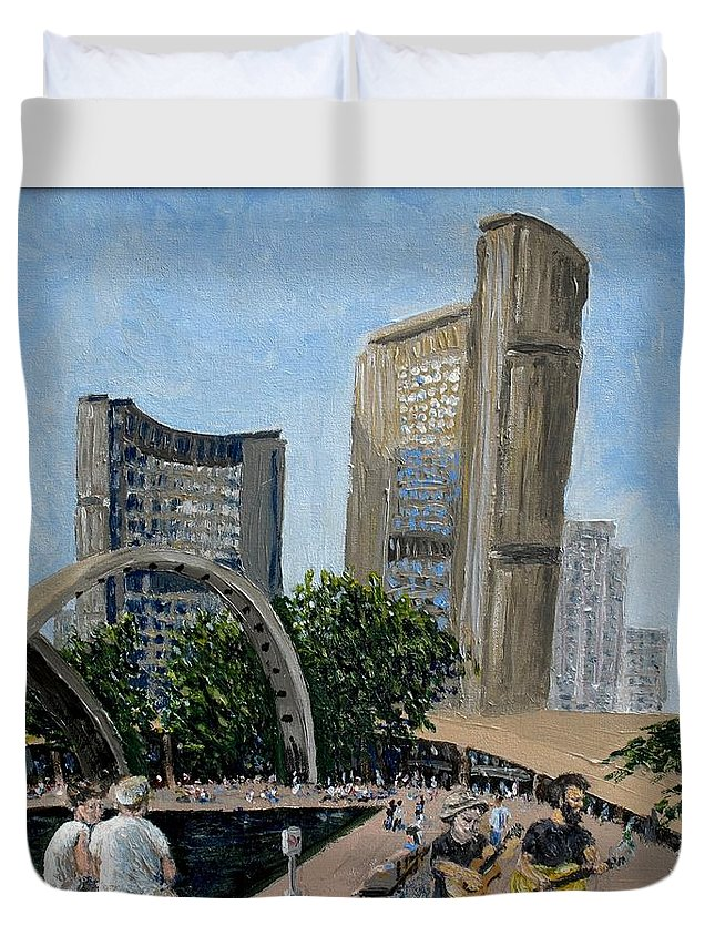 Toronto Duvet Cover featuring the painting Toronto City Hall by Ian MacDonald