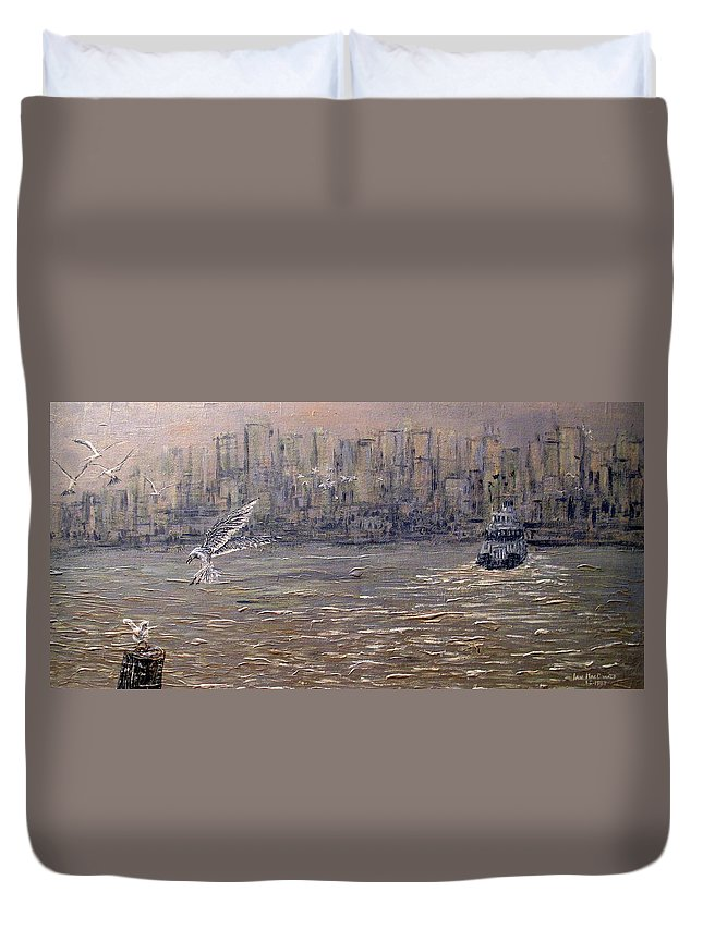Toronto Duvet Cover featuring the painting Toronto Harbor Morning by Ian MacDonald