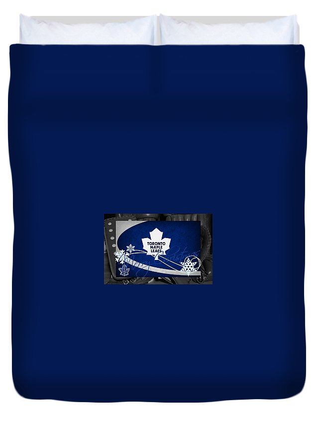 Maple Leafs Duvet Cover featuring the photograph Toronto Maple Leafs Christmas by Joe Hamilton