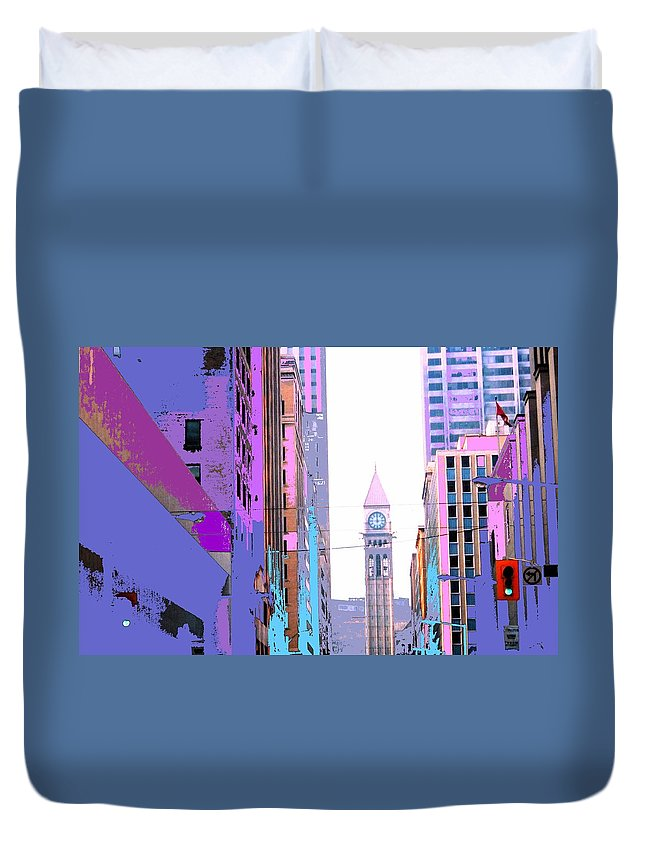 Bay Duvet Cover featuring the photograph Toronto Old City Hall by Ian MacDonald