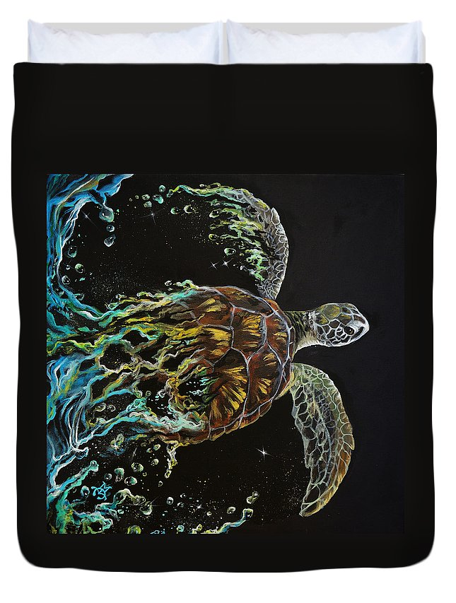 Turtle Duvet Cover featuring the painting Tortuga by Marco Antonio Aguilar
