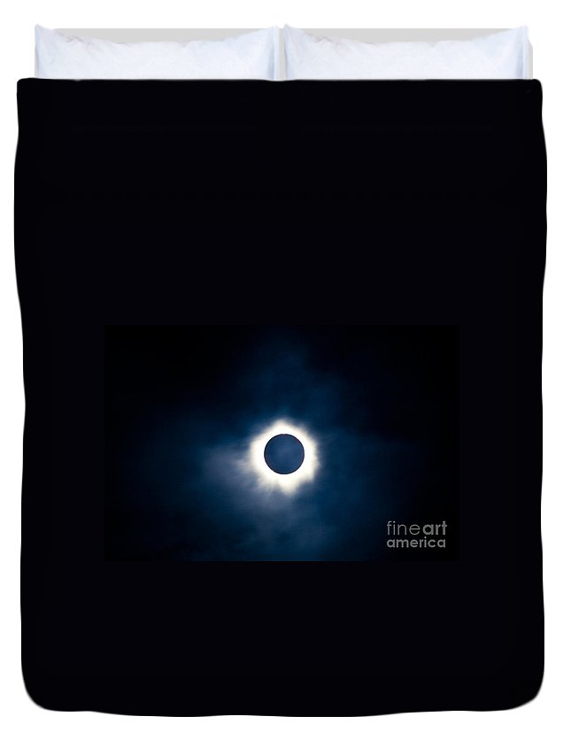 Astronomical Duvet Cover featuring the photograph Total Solar Eclipse With Visible Corona by Stephan Pietzko