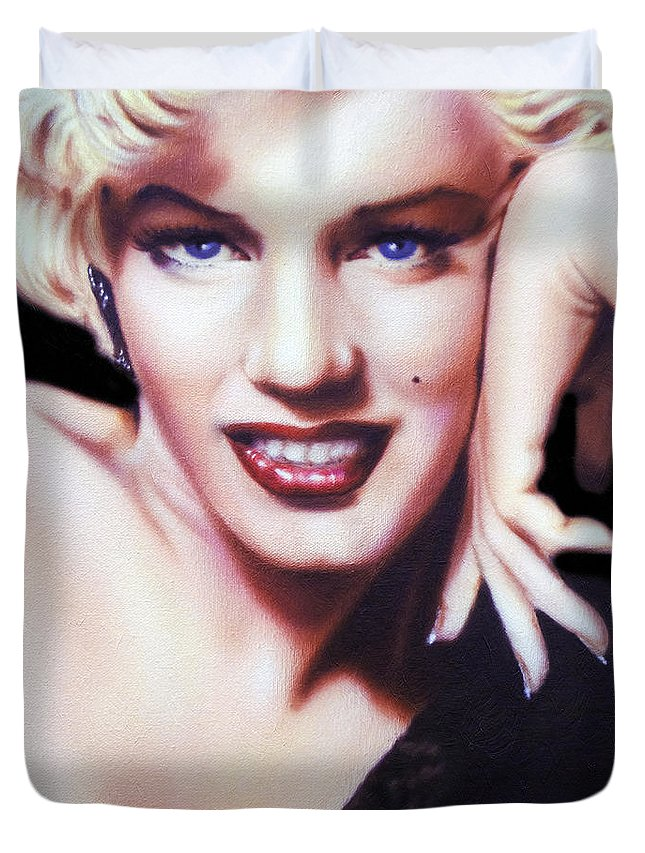 Marilyn Monroe Duvet Cover featuring the painting Totally Marilyn by Georgiana Romanovna