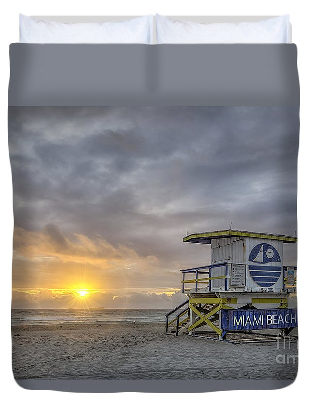 South Beach Duvet Cover featuring the photograph Touch A New Day by Evelina Kremsdorf
