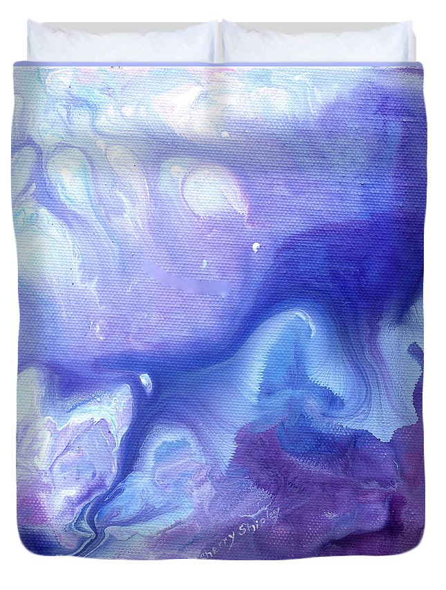 Flower Duvet Cover featuring the painting Touch Of Iris by Sherry Shipley