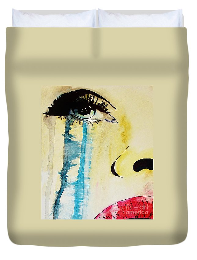 Duvet Cover featuring the painting Tougher Than You Think 2 by Michael Cross