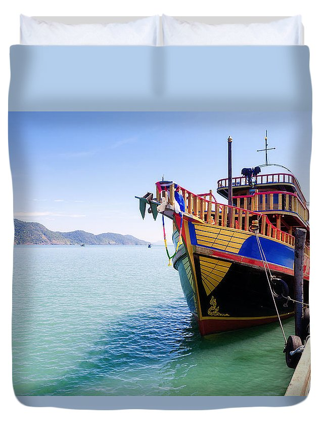 Boat Duvet Cover featuring the photograph Tour Boat by Alexey Stiop